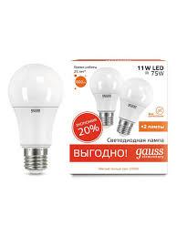 <b>Комплект</b> из 2 <b>светодиодных лампочек</b>, A60 11W E27 3000K ...