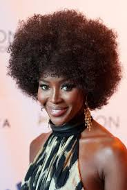 naomi cbell 70s afro curly hairstyle for black women styles