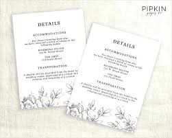 Hotel Accommodations Cards Wedding Hotel Information Card Template Enclosure Cards For