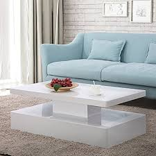 mecor modern glossy white coffee table
