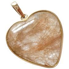 large vintage 14kt gold bezel set rutilated quartz heart pendant necklace