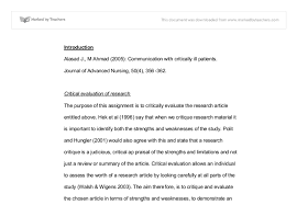 i want to be a nurse essay critical evaluation of nursing research  critical evaluation of nursing research university subjects document image preview