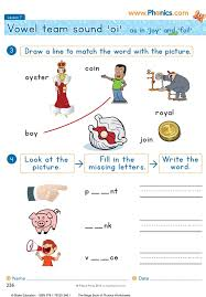 Improve your child's phonic awareness with free phonics activity sheets for kids. Phonics Worksheets Lesson 7 Vowel Teams Oi