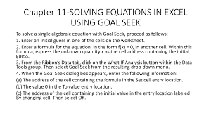 chapter 11 solving equations in excel using goal seek