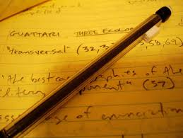revising the persuasive essay organization appropriate to purpose  a photograph of a pen lying on a notebook notes written in it