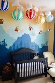 Hot Air Balloons with Mountain Mural in Nursery