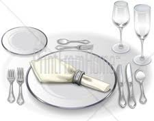 dinner table setting clipart. formal table setting clipart dinner