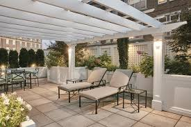 rooftop lighting. Self-anchoring Rooftop Pergola With Recessed Lighting In Boston.