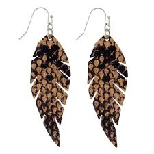 leather earrings whole faux feather snakeskin pattern joanna gaines diy