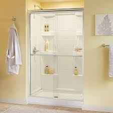 delta silverton 48 in x 70 in semi frameless traditional sliding shower door