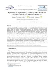 Prewriting Techniques Pdf Synectics As A Prewriting Technique Its Effects On