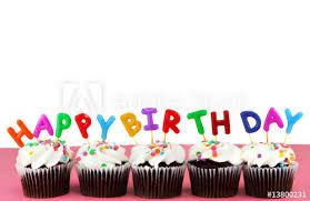 Happy Birthday Cupcakes With Candles And White Background Buy This