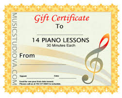 Piano Certificate Template Gift Certificates Violin Or Piano