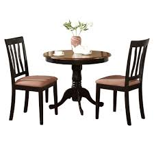 black round kitchen table plus 2 dining room chairs 3