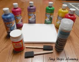 you need a canvas finger paint modge podge two sponge brushes clear