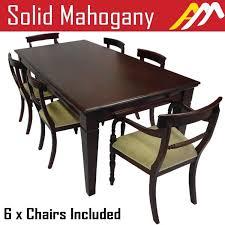 wood rectangular dining table. Solid Mahogany Wood Dining Set / Table 2m And Chairs Rectangular