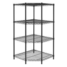 corner wire shelving. Simple Wire D 4 Shelf Steel Corner Shelving Unit In BlackSLCSUS114P  The Home Depot On Wire O