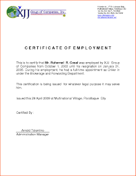 Employment Certificate Sample For Housemaid New Employment