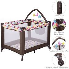 costway playard baby travel portable bed playpen toddler outdoor indoor kids