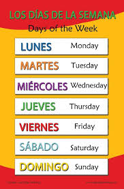 Chart Translation Spanish Spanish Language School Poster Days Of The Week Wall Chart For Home And Classroom Spanish And English Bilingual Text