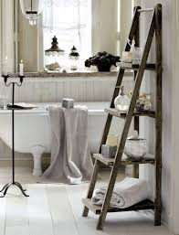 Inspiring Vintage Small Bathroom With Barn Wooden Towel Rack Ideas With  Shelves As Well As Iron Candle Stands Also White Freestanding Bathtub And  Mirrored ...