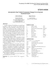 Pdf Aerodynamic Gas Turbine Compressor Design For An Oxy