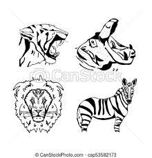 Matita Animali Set Hand Drawn Africano Grafica Matita