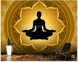 Custom Boeddha Behang Yoga Meditatie Op Lotus Fresco Muur Voor De