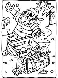 Kleurplaat Piraat Ontdekt Schatkist Kleurplatennl