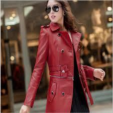aliexpress com leather jacket female trench coat plus size m 4xl red leather jacket women slim fit long leather coats women faux leather jacket from