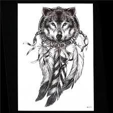 эскиз черный татуировки наклейки женщины мужчины 3d боди арт Hb577 волк Dreamcatcher