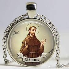 whole st francis logo necklace pendant saint charm art handmade round vintage bronze necklace women jewelry men gift aquamarine pendant necklace heart