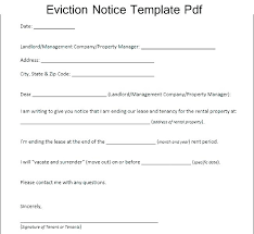Landlord Eviction Notice Letter Lease Notice Template Printable