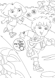 Diego With Dora Coloring Pages For Kids Printable Free Coloing