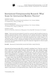 international entrepreneurship research what scope for international entrepreneurship research what scope for international business theories pdf available