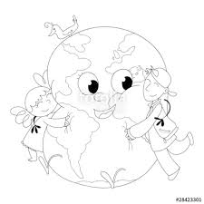 Bambini Felici Che Abbracciano La Terra Da Colorare Immagini E