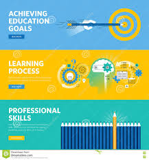 Professional Skill Set Set Of Flat Line Design Web Banners For Education Learning Process