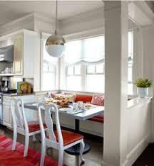 banquette in a modern looking breakfast room