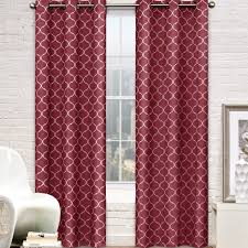 contemporary moroccan trellis design classy top grommet two panel window curtain grey ornament pattern