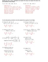 center vertices intercepts foci