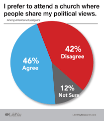 forty six percent agree with the statement i prefer to attend a church where people share my political views forty two percent disagree