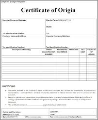 Fillable Certificates Fillable Certificate Of Origin Template Certificate Of Origin Form