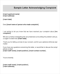 complaint letter examples acknowledgement letter examples