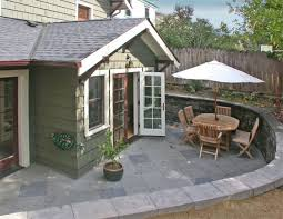 working creating patio: this basement level patio was actually an add on this sunken patio shows that