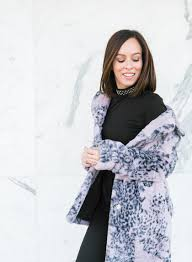 sydne style wears guess leopard print faux fur coat for winter fashion