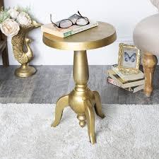 details about vintage gold round pedestal side end table living room hallway display decor