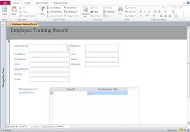 Microsoft Access Training Database Template Employee Training Log