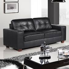 strada 3 seater black sofa with tufted seats and cushions