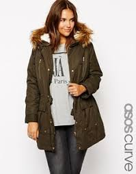 plus size parka army green pocket faux fur hooded cotton blend parka coat parka