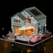 dollhouse lighting. DIY Luxury Villa Furniture New Wooden Puzzle Dollhouse Toys With LED Light Romantic Handmade Xmas Gift Lighting